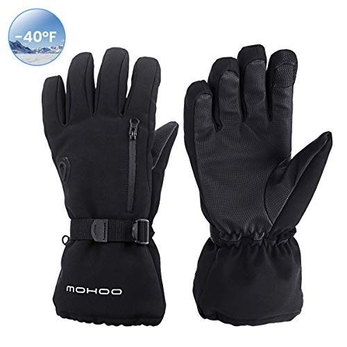 MOHOO Ski Gloves Men Women, Waterproof -40 Winter Gloves Warm Thermal Skiing Snowboarding Gloves 3M Thinsulate Cold Weather Gloves Touchscreen Snow Gloves for Winter Outdoor Sports Men Women