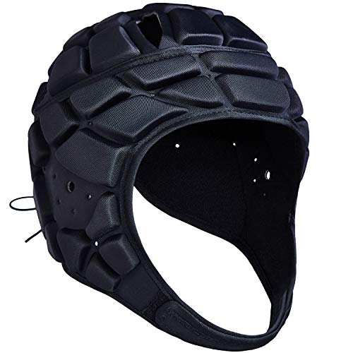COOLOMG Soft Padded Headgear 7v7 Soft Shell Head Protector Goalkeeper Adjustable Soccer Goalie Helmet Support Rugby Flag Football Helmet Youth Adults (Head Circumference 53-62cm)