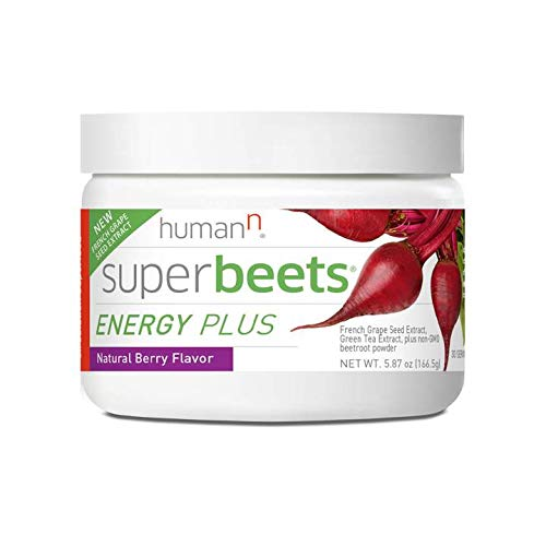 HumanN SuperBeets Energy Plus with Grape Seed Extract | Concentrated Non-GMO Beetroot Supplement with Green Tea Extract, 80mg Caffeine per Serving, Vitaminc C, Natural Berry Flavor, 5.87oz