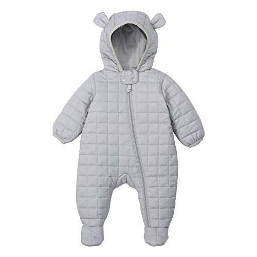 Soberto Baby Infant Down Snowsuit Lightweight Cotton Hooded Jumpsuit Winter Warm Coat Romper(Grey,3-6M)
