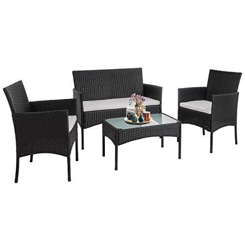Walsunny 4 Pieces Outdoor Patio Furniture Sets Rattan Chair Wicker Set,Outdoor Indoor Use Backyard Porch Garden Poolside Balcony FurnitureBlack