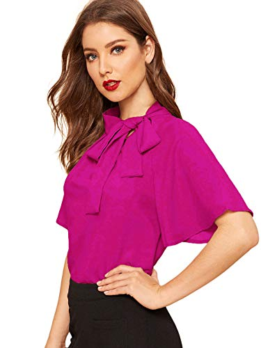 SheIn Women's Casual Side Bow Tie Neck Short Sleeve Blouse Shirt Top X-Large Hot Pink