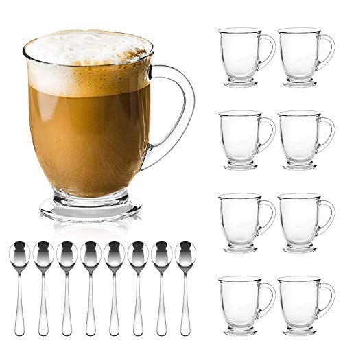 Glass Mugs,QAPPDA Clear Coffee Mugs With Handle 15 oz,Tea Mugs 450ml,Beer Glasses With Handle,Glass Cup Drinkware For Beverage,Juice,Latte Cups Cappuccino Mugs Beer Mug Water Cups Sets of 8 KTZB107