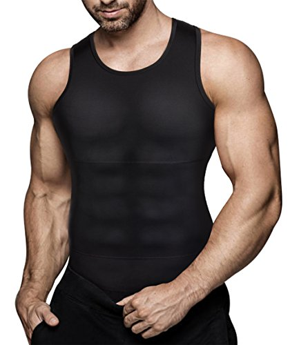 Mens Compression Shirt Slimming Body Shaper Vest Workout Tank Tops Abs Abdomen Undershirts(Black, XXL)