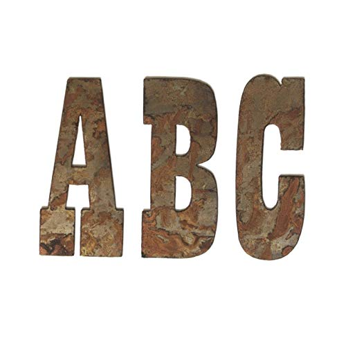 Farmhouse Rustic 6 Inch Flat Metal Letters And Numbers Wall Art Decor, Outdoor Country Rusted Steel Monogram Decorations, Welcome, Home, Joy, Wall Signs For Barn, Nursery, Living Rooms