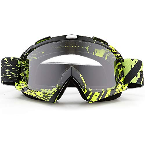 SPOSUNE Motorcycle Goggles, ATV Dirt Bike Off Road Racing MX Riding Goggle Anti-Scratch Dustproof Bendable UV400 Eyewear Padded Soft Thick Foam,Adjustable Strap Adults' Cycling Motocross