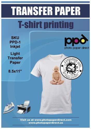 """PPD Inkjet Iron-On White and Light Colored T Shirt Transfers Paper LTR 8.5x11"""" Pack of 20 Sheets (PPD001-20)"""