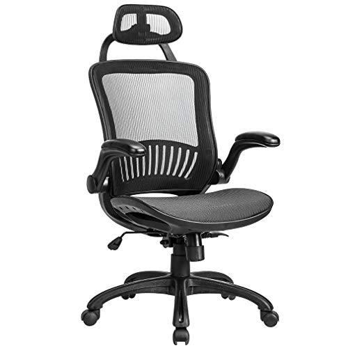 Office Chair Desk Chair Computer Chair Ergonomic Rolling Swivel Mesh Chair Lumbar Support Headrest Flip-up Arms High Back Adjustable Chair for Women& Men,Black