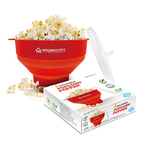 Collapsible Silicone Microwave Hot Air Popcorn Popper Bowl With Lid and Handles