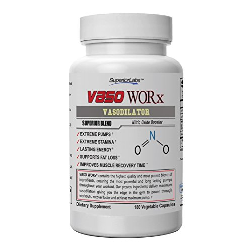 Superior Labs – VASOWORx® – Nitric Oxide Supplement – Extra Strength - 1,600 mg, 180 Vegetable Capsules – 7 Powerful Ingredients – Increased Energy, Stamina, Circulatory Support