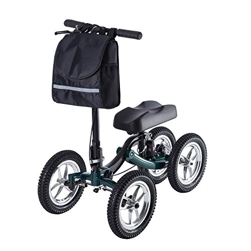 ELENKER Knee Scooter Economy Steerable Knee Walker Ultra Compact & Portable Crutch Alternative with 12' All-Terrain Wheels Shock Absorber Strong Disc Brake for Ankle/Foot/Leg Injury or Surgery (Green)