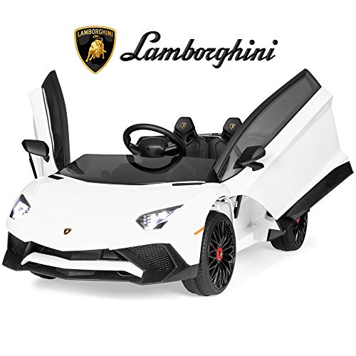 Best Choice Products Kids 12V Ride On Lamborghini Aventador SV Sports Car Toy w/ Parent Control, AUX Cable - White