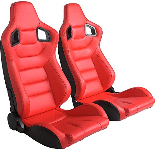 Homepeaz Racing Seats, Universal Red Leather Racing Seats Pair w/Red Stitching with Double Slider Set of 2