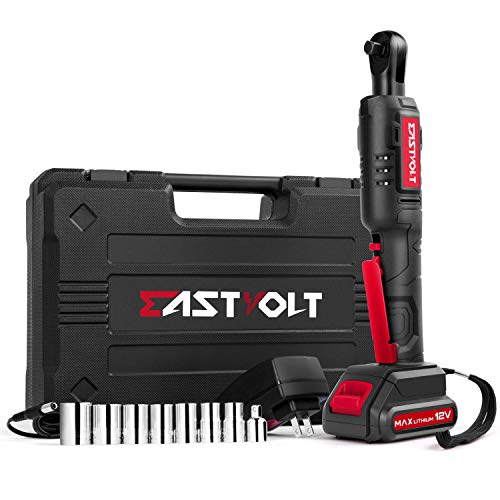 """Eastvolt 12V Cordless Electric Ratchet Wrench Set, 3/8 Inch 35ft-lbs Power Wrench Tool Kit, with Fast Charger, 2.0Ah Lithium-Ion Battery, 7-Pieces 3/8 Inch Metric Sockets and 1/4"""" Adaptor"""
