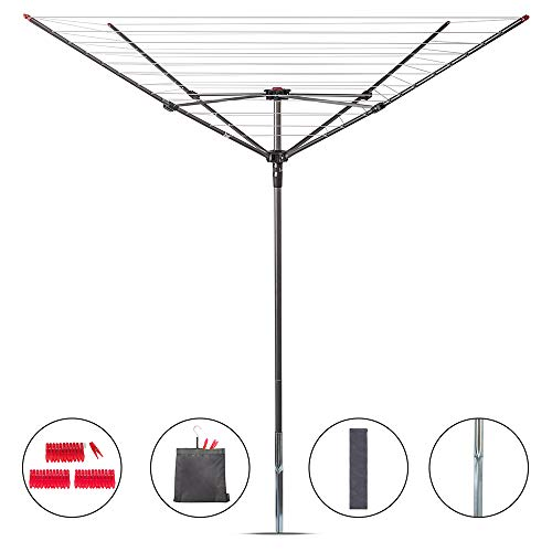 STORAGE MANIAC Rotary Outdoor Umbrella Drying Rack | Collapsible 4-arm | 12-Lines with 164ft Clothesline Outdoor