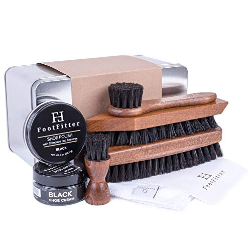 FootFitter Complete Shoe Cleaning, Polishing, and Shining Set- Black