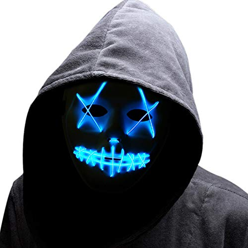 Cosplay LED Mask Light Up Scary Mask Purge Mask for Halloween Festival Parties