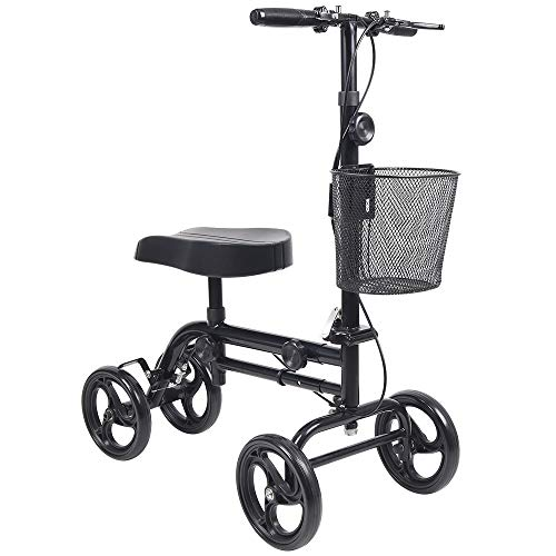Give Me Knee Scooter All Terrain Deluxe Medical Steerable Foldable Knee Walker for Broken Leg, Foot, Ankle Injuries Crutch Alternative with Basket and Dual Hand Brake (Black)