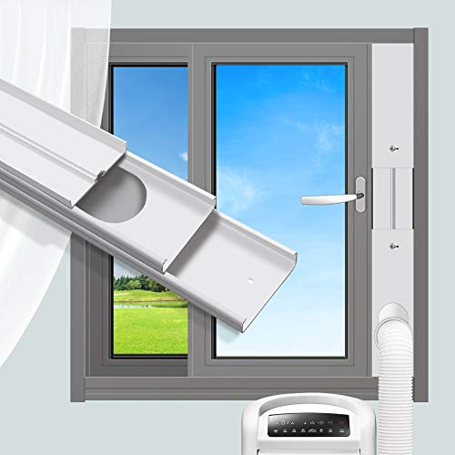 gulrear Portable Air Conditioner Window Vent Kit, Window Slide Kit Plate for Portable Air Conditioner, Adjustable Length Portable AC Vent Kit for Exhuast Hose of 13cm/5.1 Inch