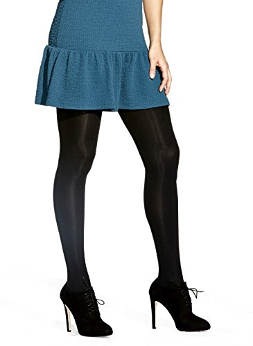 No Nonsense Women's Super Opaque Control-Top Tights, Black, Large