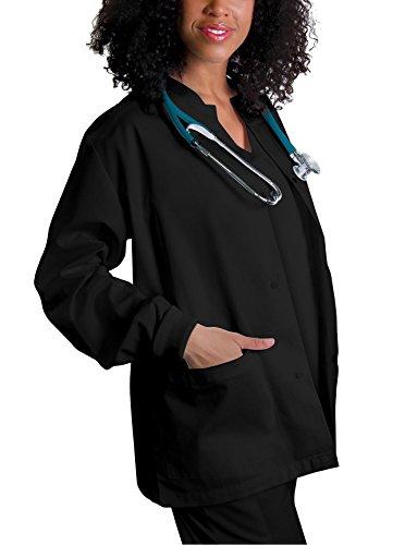 Adar Universal Scrubs for Women - Round Neck Warm-Up Scrub Jacket - 602 - Black - M