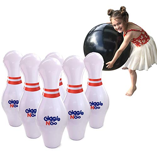 GIGGLE N GO Kids Bowling Set Indoor Games or Outdoor Games for Kids. Hilariously Fun Giant Yard Games for Kids and Adults. Indoor Sports Games for Kids, Outside Games for Kids Ages 4-8 to Adults