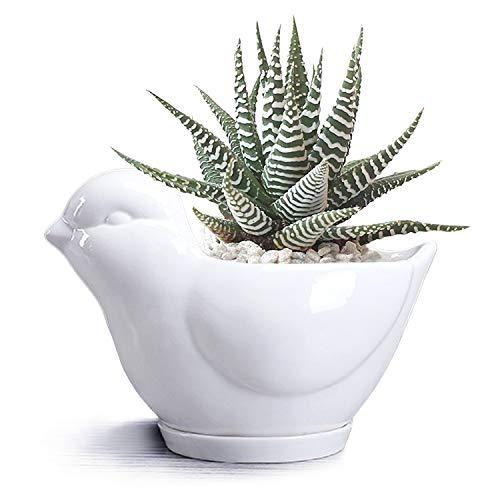 Cute Animals Ceramic Flower Pot Animal Succulent Planter Pot White Ceramic Cactus Planter Pot Flower Plant Container Desk Organizer Decoration Accessories Great Office School Gift
