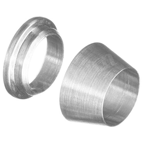 """Beduan 304 Stainless Steel Compression Fitting Ferrule Sleeve 1/4"""" 3/8' 1/2' Tube OD Double Ferrule Ring Tubing Fitting(Pack of 30)"""