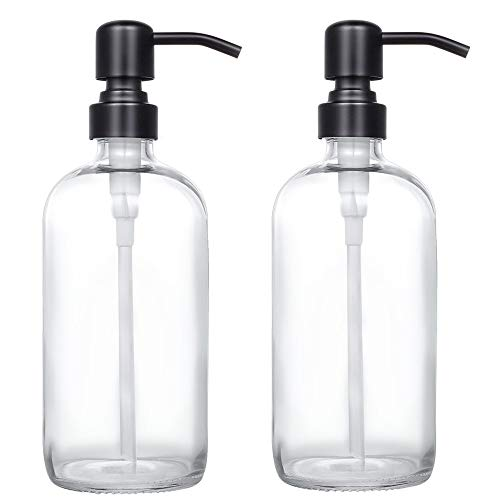 2 Pack Thick Clear Glass Pint Jar Soap Dispenser with Matte Black Stainless Steel Pump, 16ounce Clear Boston Round Bottles Dispenser with Rustproof Pump for Essential Oil, Lotion Soap