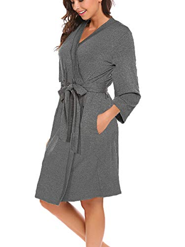 Bluetime Women Robe Soft Kimono Robes Cotton Bathrobe Sleepwear Loungewear Short (L, Heather Grey)