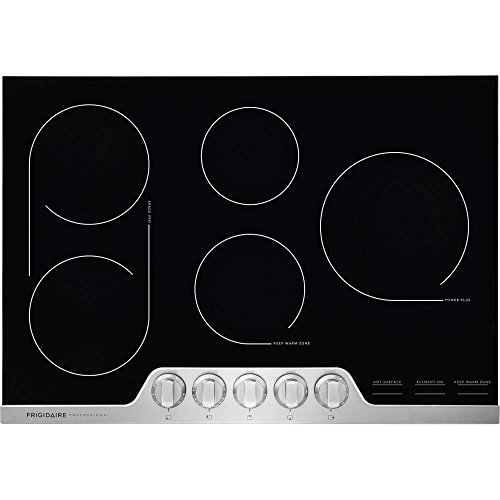 Frigidaire Professional 30 Inch Electric, Ceramic Glass 5-Burner Flat Range with Stainless Steel Trim, FPEC3077RF Cooktop,