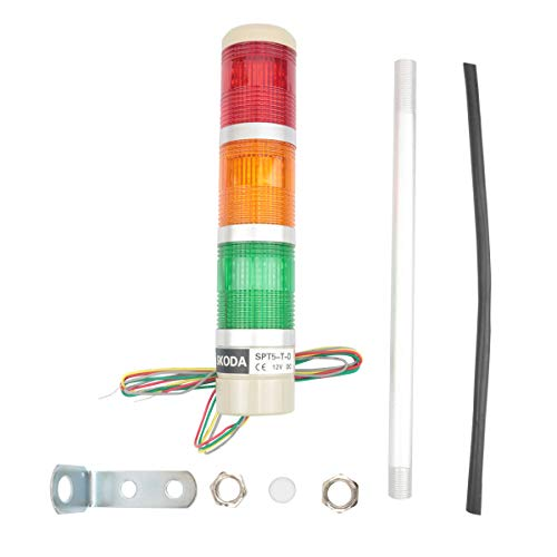 Nxtop Industrial Signal Light Column LED Alarm Round Tower Light Indicator Continuous Light Warning Light Red Green Yellow DC 12V