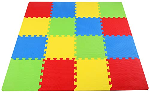 BalanceFrom Kid's Puzzle Exercise Play Mat with EVA Foam Interlocking Tiles, 4 Colors (16 Tiles)