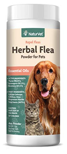 NaturVet – Herbal Flea Plus Essential Oils – Essential Oils Help to Repel Fleas – Deodorizes With a Fresh Herbal Fragrance – For Dogs & Cats – 4 oz Powder
