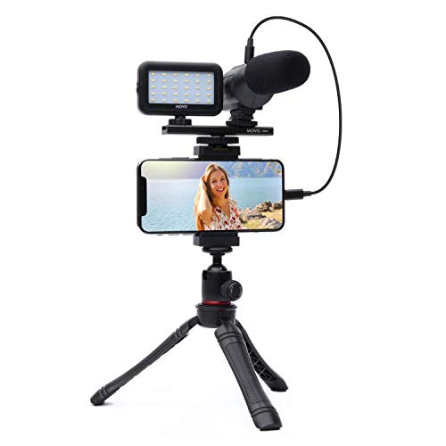 Movo iVlogger- iPhone/Android Compatible Vlogging Kit Phone Video Kit Accessories: Phone Tripod, Phone Mount, LED Light and Cellphone Shotgun Microphone for Phone Video Recording for YouTube, Vlog