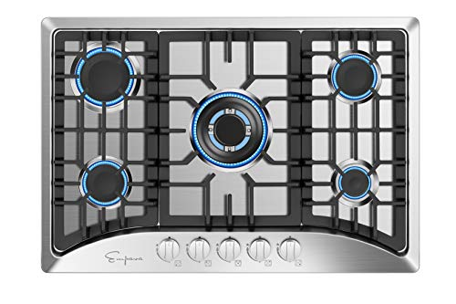 Empava 30' 5 Italy Sabaf Burners Gas Stove Cooktop Stainless Steel EMPV-30GC5B70C, 30 Inch