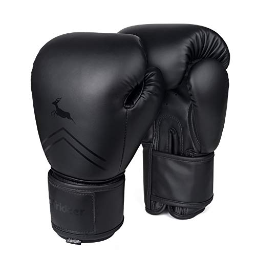 Trideer Pro Grade Boxing Gloves, Kickboxing Bagwork Gel Sparring Training Gloves, Muay Thai Style Punching Bag Mitts, Fight Gloves Men & Women (All Black, 12oz)