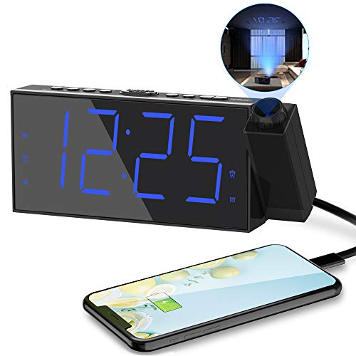 Projection Digital Alarm Clock for Bedrooms,Dual Loud Alarm Clock for Heavy Sleeper,Large Alarm Clock with Projection on Ceiling with USB Port,Battery Backup, 180°Projector, LED Display for Kid