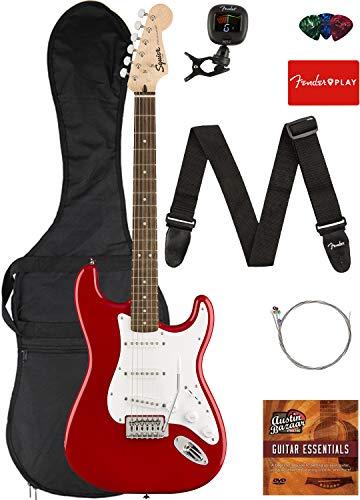 Fender Squier Bullet Stratocaster SSS Electric Guitar Bundle w/Gig Bag, Clip-on Tuner, Strap, Strings, Picks, and Austin Bazaar Instruction DVD - Limited-Edition Dakota Red