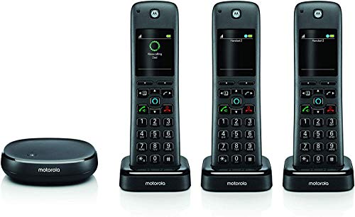 Motorola AXH03 DECT 6.0 Smart Cordless Phone and Answering Machine with Alexa Built-in – 3 Cordless Handsets Included