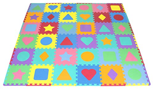 ProSource Kids Foam Puzzle Floor Play Mat with Shapes & Colors 36 Tiles, 12'x12' and 24 Borders
