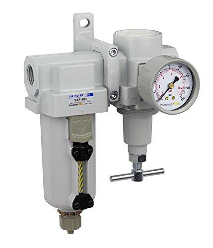 PneumaticPlus SAU420T-N04G-MEP Air Filter Regulator Combo 1/2' NPT -T-Handle, Manual Drain, Metal Bowl