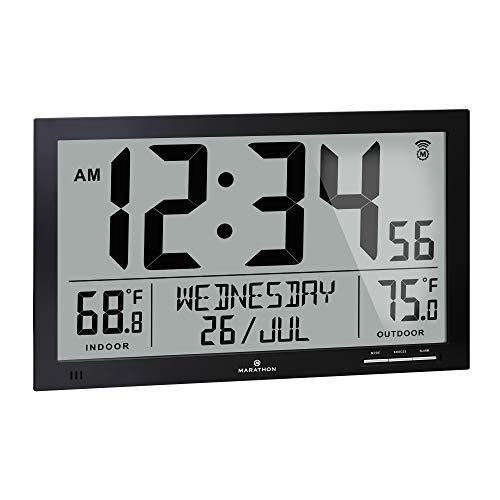 Marathon Slim Atomic Full Calendar Clock with Indoor/Outdoor Temperature. Extra Long 4.5 Inch Digits. Comes with External Probe for Refrigerators - CL030066BK (Black)