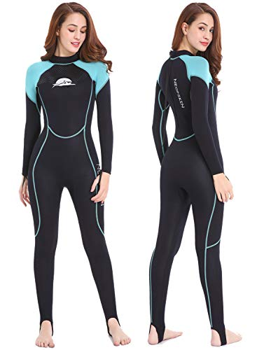 NeopSkin Diving Skin Women Men Youth 2mm Neoprene Wetsuit One Piece Full Body Dive Suit Thin Wet Suits for Scuba Diving Snorkeling Surfing Swimming (Women's Black/Aquamarine, Women's Small)