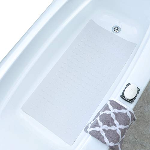 SlipX Solutions White Extra Long Rubber Safety Bath Mat (220 Suction Cups, 18' x 36', Great Non-Slip Coverage)