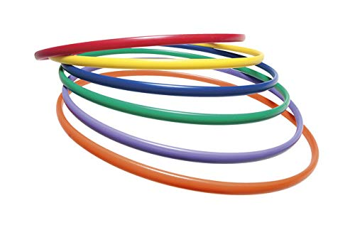 Sportime UltraHoops Strong and Controllable No-Kink PE Hoops - 30 inch - Set of 6 - Assorted Colors
