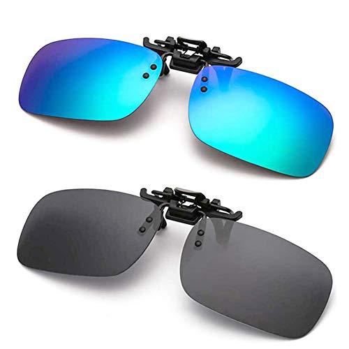 Polarized Clip-on Sunglasses Anti-Glare for Driving Fishing Golf Flip-up Sungasses Over Prescription Glasses (Black + Green)