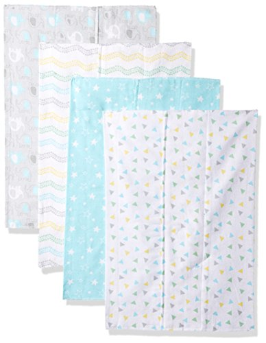 Luvable Friends Unisex Baby Cotton Flannel Burp Cloths, Basic Elephant, One Size