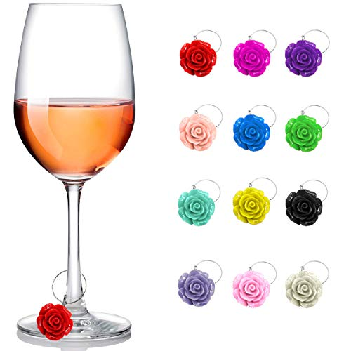 Wine Glass Charms 12 Pieces Wine Themed Wine Glass Drink Markers for Cocktails Martinis Champagne Flutes, Wine Tasting Party Decoration Supplies Gift, Roses Flower