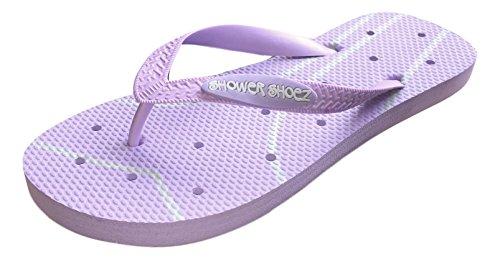 Shower Shoez Women's Non-Slip Pool Dorm Water Sandals Flip Flops (9-10, Purple/Grey)